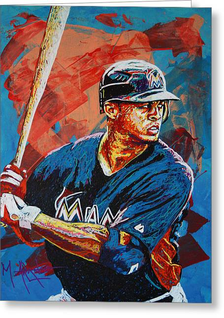 Baseball Paintings Greeting Cards - Giancarlo Stanton Greeting Card by Maria Arango