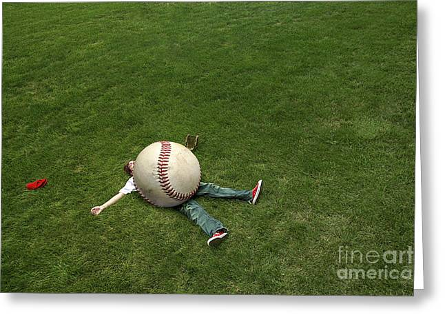 Baseball Players Greeting Cards - Giant Baseball Greeting Card by Diane Diederich