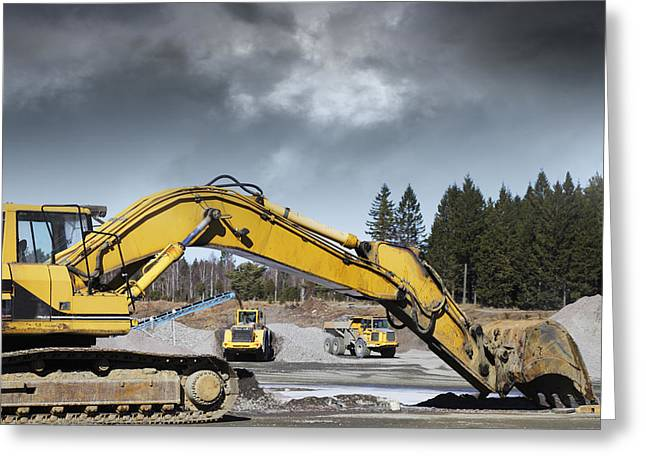 Bulldozer Greeting Cards - Giant Bulldozers In Action Greeting Card by Christian Lagereek