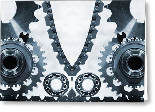 Stainless Steel Greeting Cards - Giant Cogwheels Machinery Of Titanium And Steel Greeting Card by Christian Lagereek