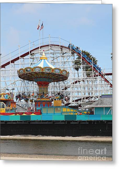 Santa Cruz Ca Greeting Cards - Giant Dipper At The Santa Cruz Beach Boardwalk California 5D23721 Greeting Card by Wingsdomain Art and Photography
