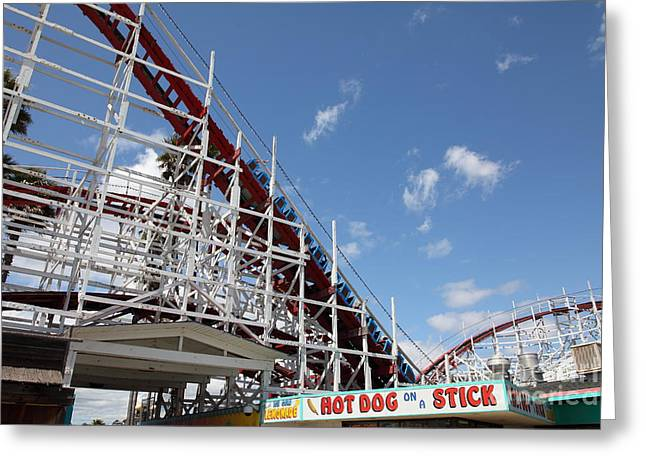 Hotdogs Greeting Cards - Giant Dipper At The Santa Cruz Beach Boardwalk California 5D23883 Greeting Card by Wingsdomain Art and Photography