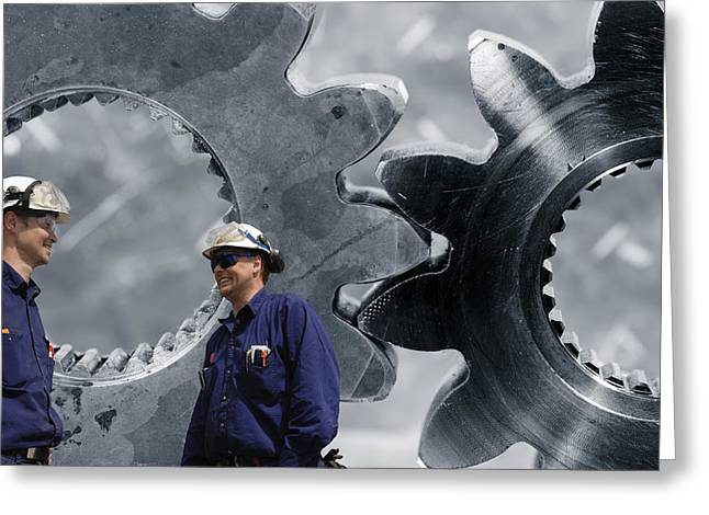 Stainless Steel Greeting Cards - Giant Gears Machinery With Engineers Greeting Card by Christian Lagereek
