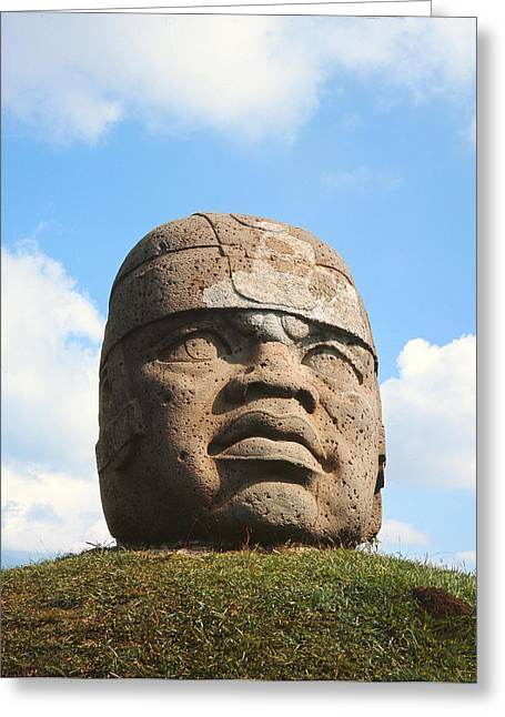 Mesoamerica Greeting Cards - Giant Head, Olmec Culture Stone Greeting Card by Pre-Columbian
