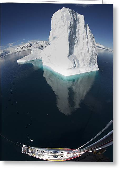 Sailboat Photos Greeting Cards - Giant Iceberg  From The Crows Nest Greeting Card by Matthias  Breiter