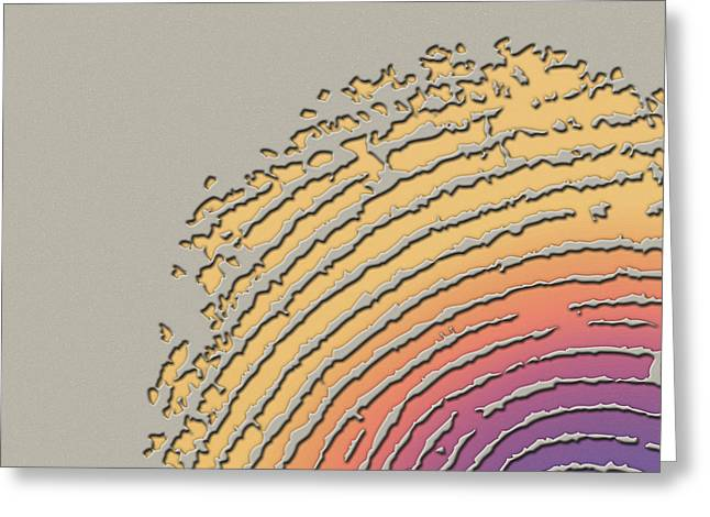 Beige Abstract Digital Art Greeting Cards - Giant Iridescent Fingerprint on Clay Beige Set of 4 - 1 of 4 Greeting Card by Serge Averbukh