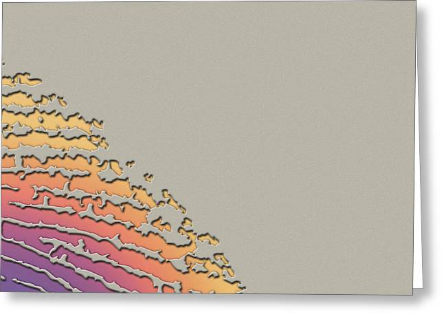 Beige Abstract Digital Art Greeting Cards - Giant Iridescent Fingerprint on Clay Beige Set of 4 - 2 of 4 Greeting Card by Serge Averbukh