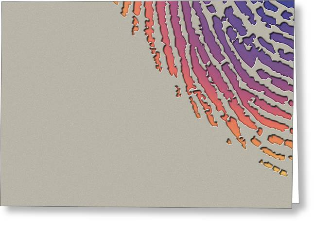 Beige Abstract Digital Art Greeting Cards - Giant Iridescent Fingerprint on Clay Beige Set of 4 - 3 of 4 Greeting Card by Serge Averbukh