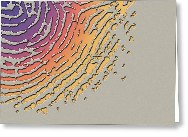 Beige Abstract Digital Art Greeting Cards - Giant Iridescent Fingerprint on Clay Beige Set of 4 - 4 of 4 Greeting Card by Serge Averbukh