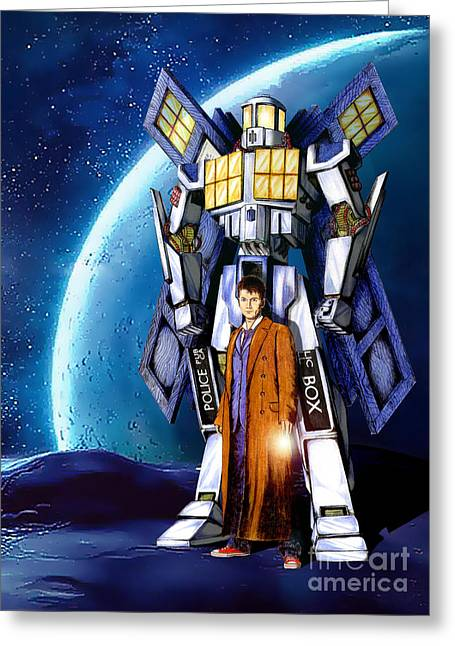 Eleventh Doctor Greeting Cards - Giant Robot Phone Box with The Doctor Greeting Card by Three Second