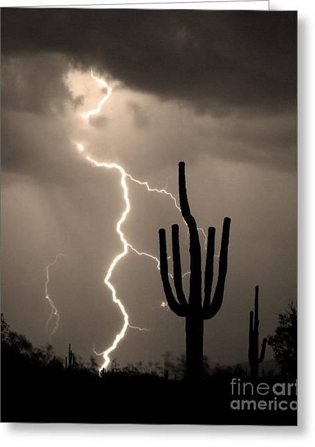 Arizona Lightning Greeting Cards - Giant Saguaro Cactus Lightning Strike Sepia  Greeting Card by James BO  Insogna