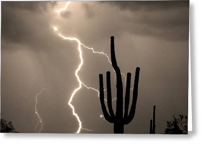 Giant Saguaro Cactus Lightning Strike Sepia  Greeting Card by James BO  Insogna