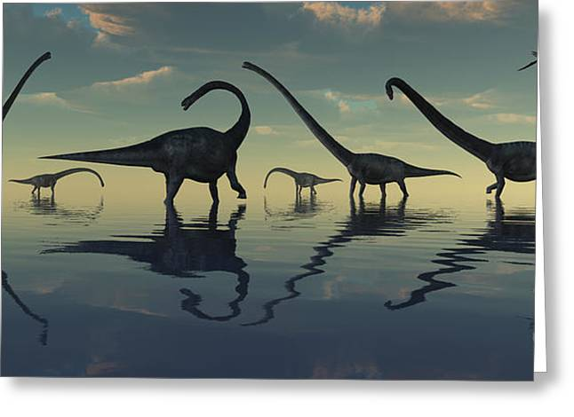 Reflections Of Sky In Water Greeting Cards - Giant Sauropod Dinosaurs Grazing Greeting Card by Mark Stevenson