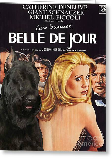 Schnauzer Art Greeting Cards - Giant Schnauzer Art Canvas Print - Belle de Jour Movie Poster Greeting Card by Sandra Sij