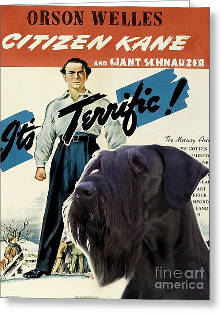 Schnauzer Art Greeting Cards - Giant Schnauzer Art Canvas Print - Citizen Kane Movie Poster Greeting Card by Sandra Sij