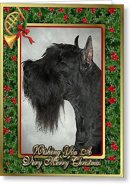 Giant Schnauzer Greeting Cards - Giant Schnauzer Dog Christmas Greeting Card by Olde Time  Mercantile