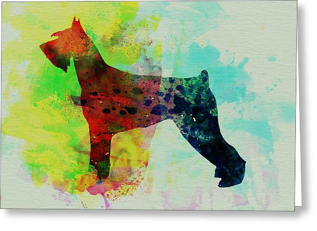 Puppies Paintings Greeting Cards - Giant Schnauzer Watercolor Greeting Card by Naxart Studio