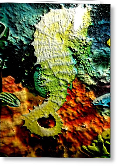 Two Seahorses Greeting Cards - Giant Seahorse Two Greeting Card by Sun Browser