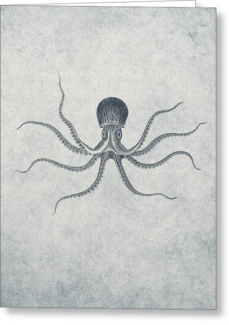 Aqua Drawings Greeting Cards - Giant Squid - Nautical Design Greeting Card by World Art Prints And Designs