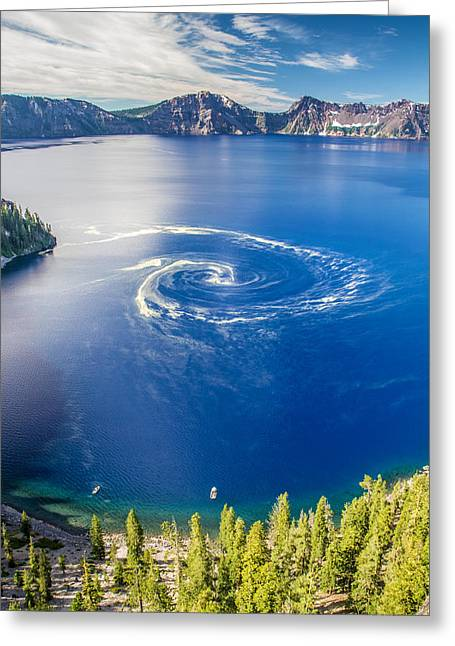 Crater Lake View Greeting Cards - Giant Swirl Phenomenon Greeting Card by Pierre Leclerc Photography