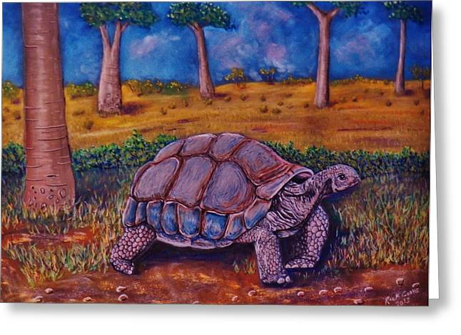 Saw Pastels Greeting Cards - Giant Tortoise Greeting Card by Richard Goohs