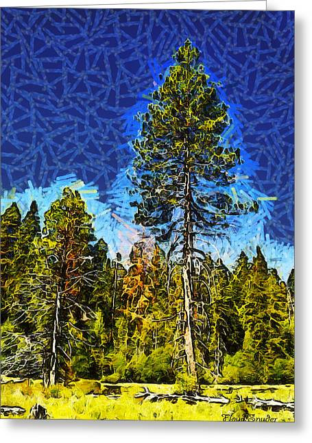 Giant Sequoia Greeting Cards - Giant Tree Abstract Greeting Card by Barbara Snyder