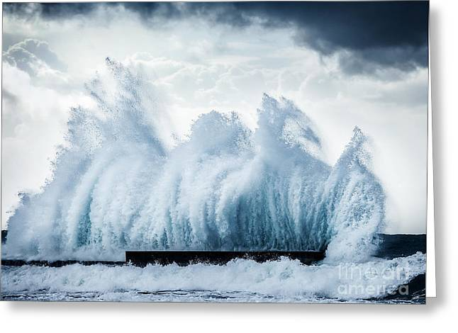 Atlantic Beaches Greeting Cards - Giant waves Greeting Card by Anna Omelchenko