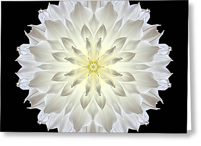 Giant White Dahlia Flower Mandala Greeting Card by David J Bookbinder