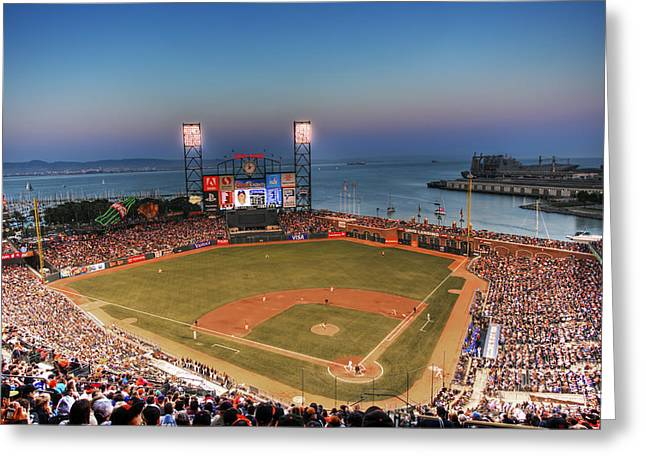 Baseball Stadiums Greeting Cards - Giants Ballpark at Night Greeting Card by Shawn Everhart