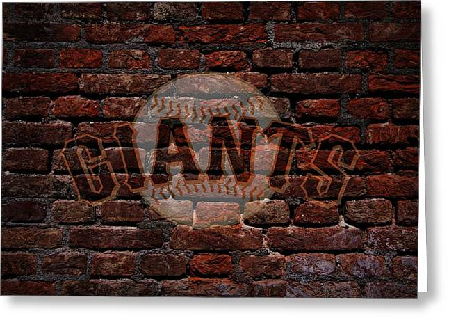 Baseball Print Greeting Cards - Giants Baseball Graffiti on Brick  Greeting Card by Movie Poster Prints