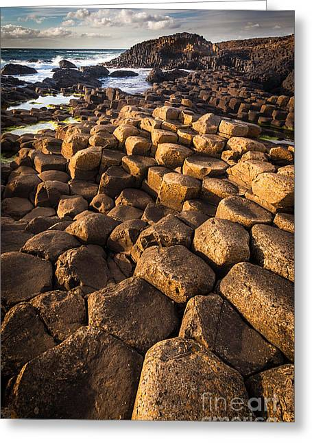 Emerald Green Greeting Cards - Giants Causeway Bricks Greeting Card by Inge Johnsson