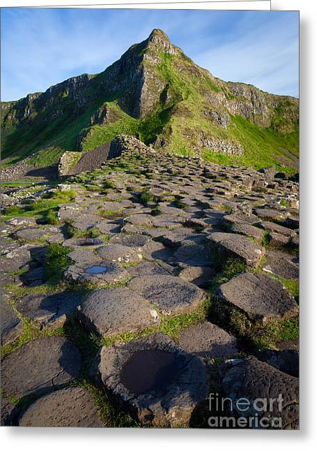 Giant's Causeway Green Peak Greeting Card by Inge Johnsson