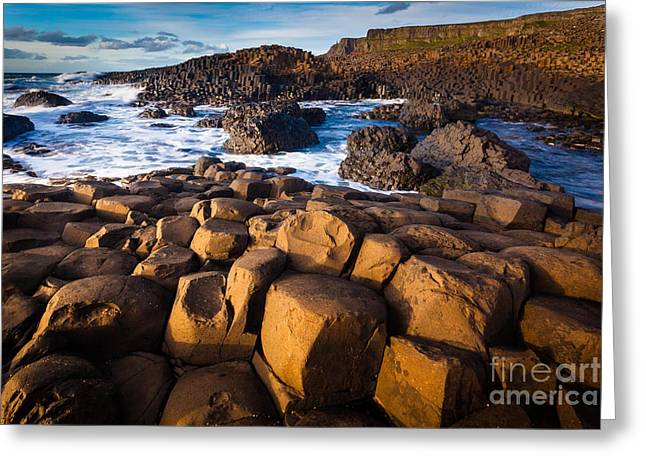 Emerald Green Greeting Cards - Giants Causeway Surf Greeting Card by Inge Johnsson