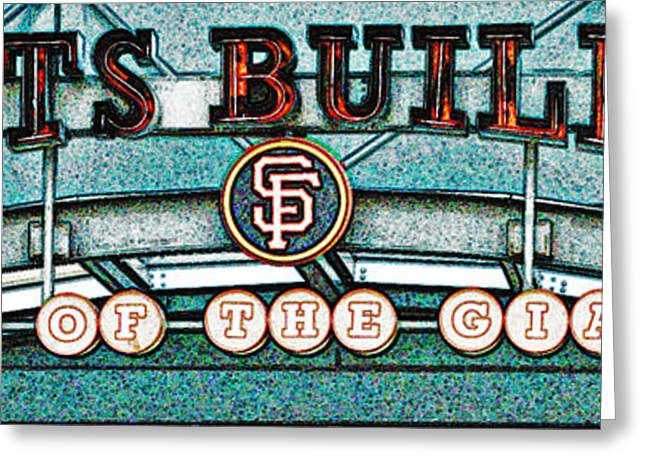 Baseball Game Greeting Cards - Giants in Chalk Greeting Card by Holly Blunkall