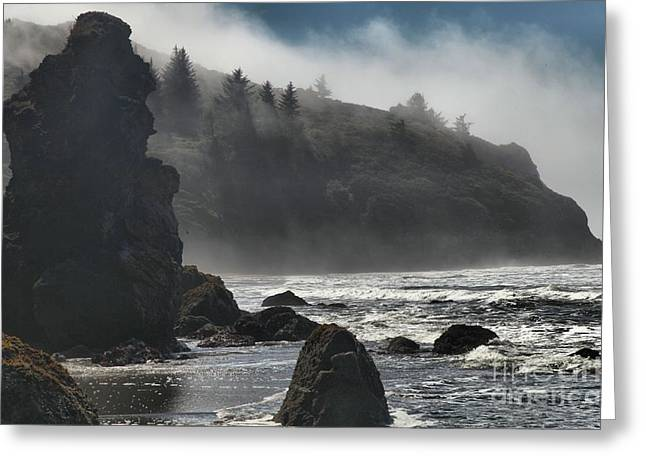Foggy Beach Greeting Cards - Giants In The Fog Greeting Card by Adam Jewell