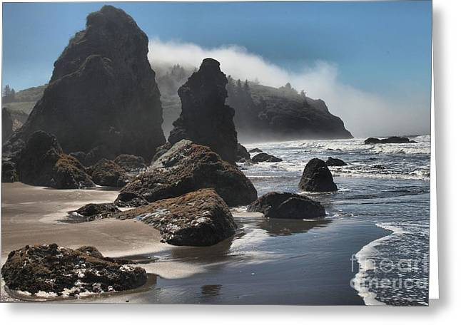 Foggy Beach Greeting Cards - Giants Of Trinidad Greeting Card by Adam Jewell