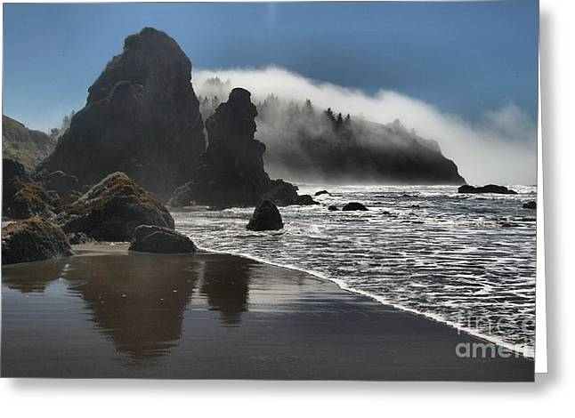 Foggy Beach Greeting Cards - Giants On The Beach Greeting Card by Adam Jewell