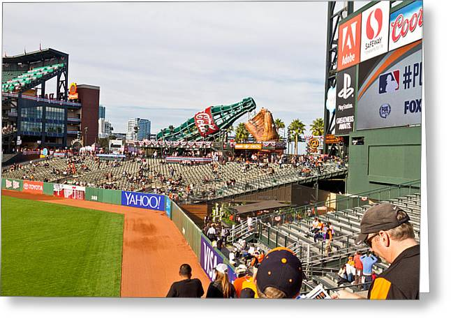 Nlcs Greeting Cards - Giants Pre-game Greeting Card by Bernard  Barcos