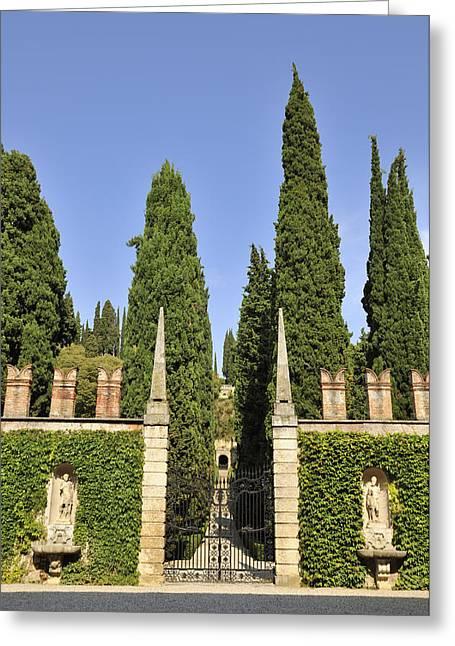 Italian Landscapes Greeting Cards - Giardino Giusti gardens in Verona Italy Greeting Card by Matthias Hauser