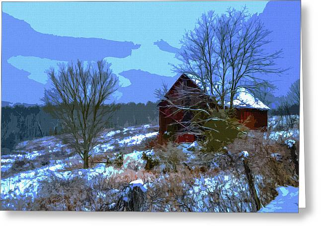 Barn Covered In Snow Greeting Cards - Gibisonville - Ohio 2 Greeting Card by Brian Stevens