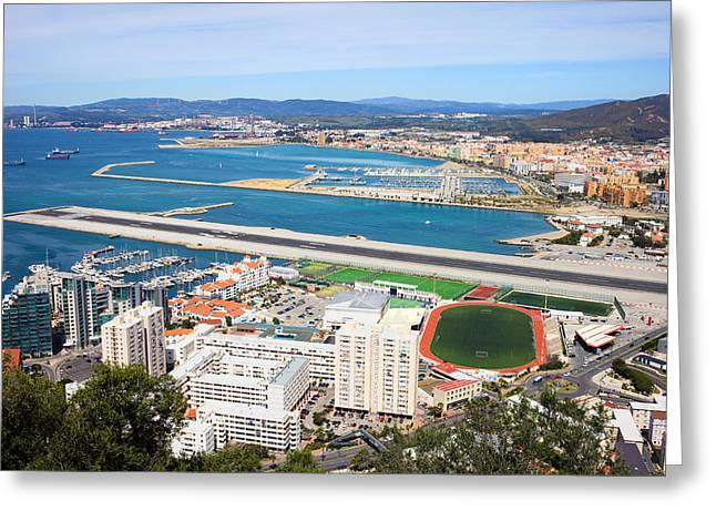 Airstrip Greeting Cards - Gibraltar City and Airport Runway Greeting Card by Artur Bogacki