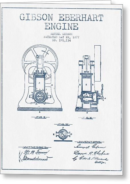 Steam Room Greeting Cards - Gibson Eberhart Engine Patent Drawing From 1877- Blue Ink Greeting Card by Aged Pixel