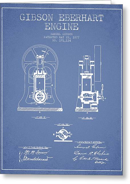 Steam Engine Greeting Cards - Gibson Eberhart Engine Patent Drawing From 1877- Light Blue Greeting Card by Aged Pixel