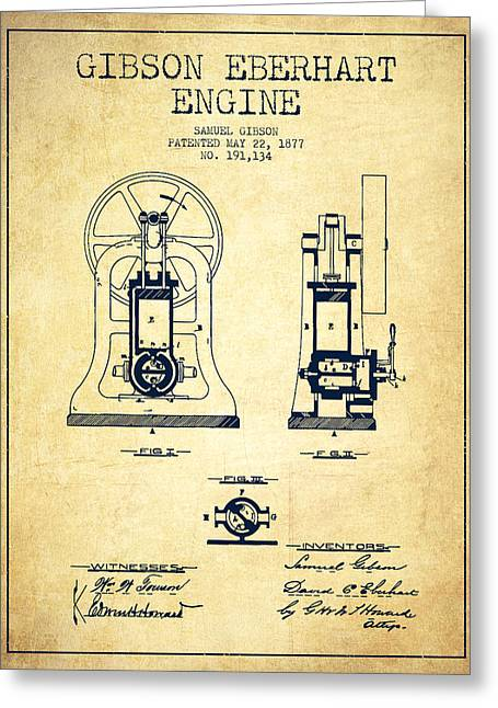 Steam Engine Greeting Cards - Gibson Eberhart Engine Patent Drawing From 1877- Vintage Greeting Card by Aged Pixel