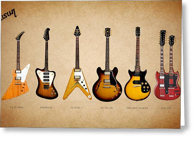 Maker Greeting Cards - Gibson Electric Guitar Collection Greeting Card by Mark Rogan