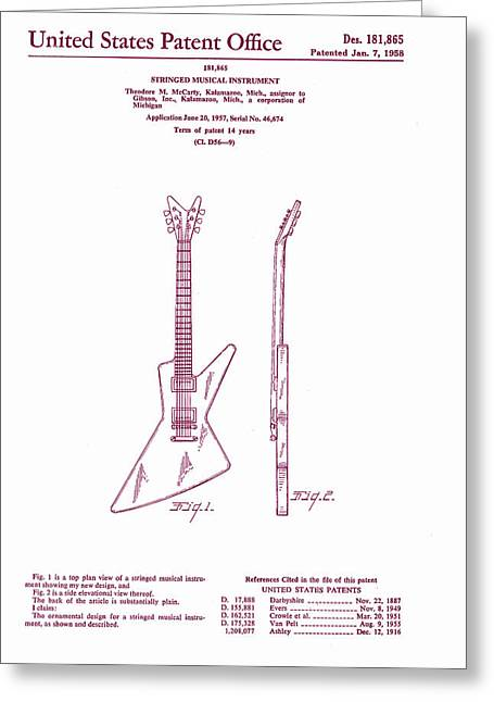 Epiphone Guitars Greeting Cards - Gibson Explorer Guitar Patent Greeting Card by Nomad Art And  Design