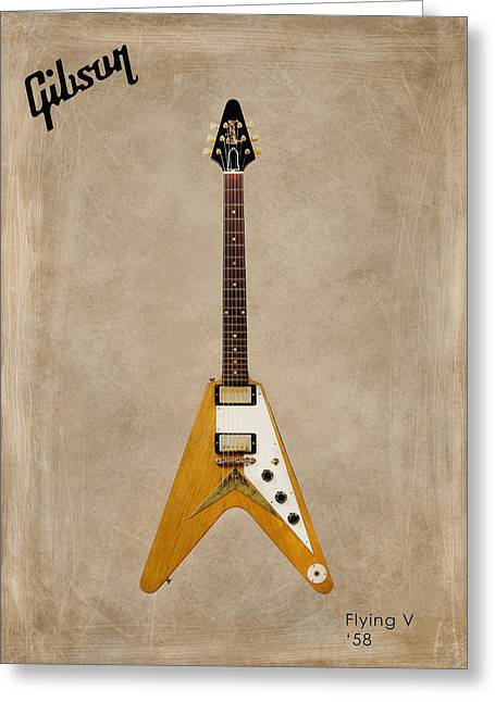 Rock N Roll Greeting Cards - Gibson Flying V Greeting Card by Mark Rogan
