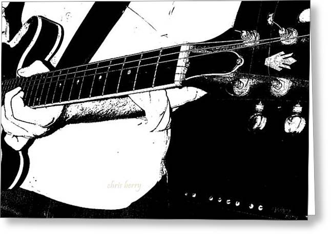 Black Berries Greeting Cards - Gibson Guitar Graphic Greeting Card by Chris Berry