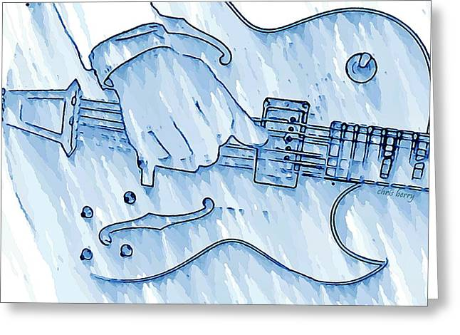 Person Greeting Cards - Gibson Guitar in Blue Greeting Card by Chris Berry