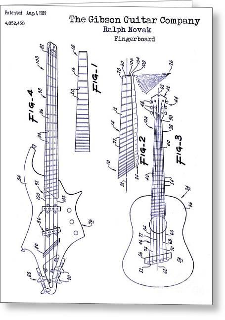 Guitar Drawings Greeting Cards - Gibson Guitar Patent Blueprint Greeting Card by Jon Neidert